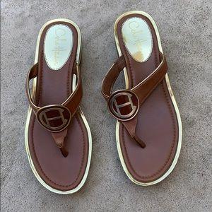 Cole Haan Air Brown & Gold Wedge Sandal Thong- 6.5